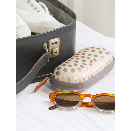 Caroline Gardner Metallic Dotty Glasses Case - Gold