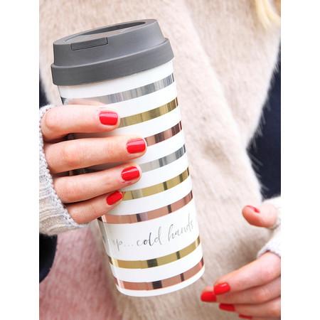 Caroline Gardner Metallic Stripe Travel Mug - Multicoloured