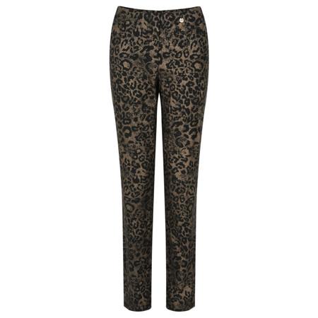 Robell Trousers Bella Full Length Animal Print Trouser - Beige