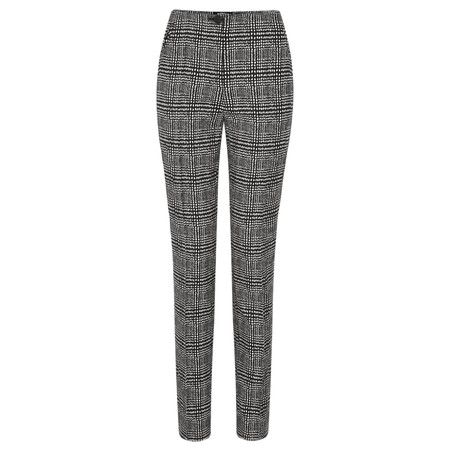 Robell Trousers Holly Smart Check Full Length Trouser - Beige