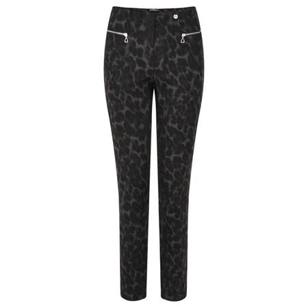 Robell Trousers Mimi Full Length Animal Print Trouser - Black