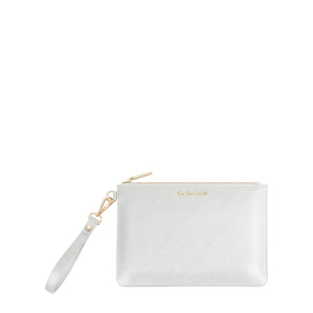 Katie Loxton Secret Message Pouch - Live Love Sparkle/A Reminder To Live Love Sparkle Every Day - Silver