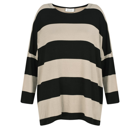 Masai Clothing Oversized Wide Stripe Basigne Top - Brown