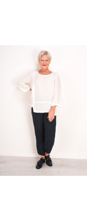 Grizas Mira Solid Crinkle Top White