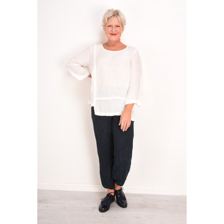 Grizas Mira Solid Crinkle Top - White
