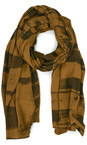Grizas Golden Khaki Anelli Brush Stroke Crinkle Scarf