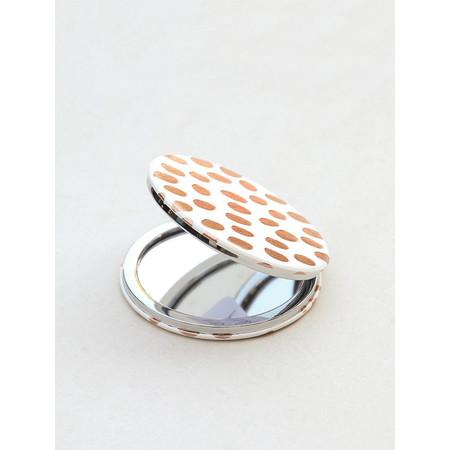 Caroline Gardner Rose Gold Dotty Pocket Compact Mirror - Gold