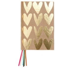 Caroline Gardner Gold Kraft Hearts Multi Ribbon Journal Notebook