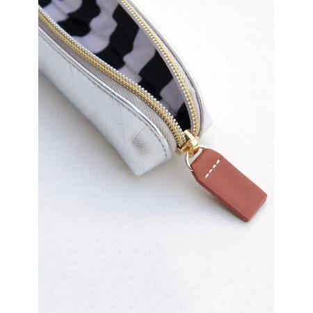 Caroline Gardner Metallic Silver Small Pencil Case - Metallic
