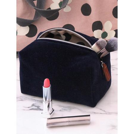 Caroline Gardner Velvet Cube Cosmetic Bag - Blue