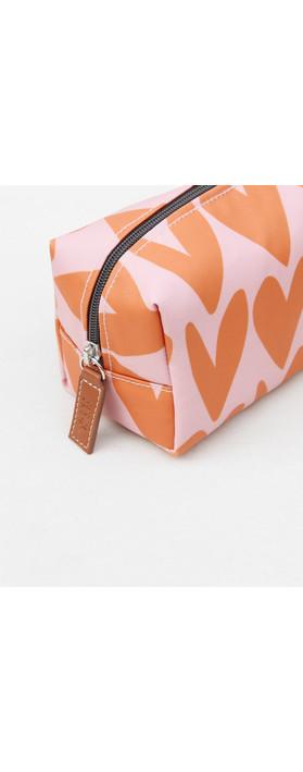 Caroline Gardner Heart Cube Cosmetic Bag in Pink / Orange