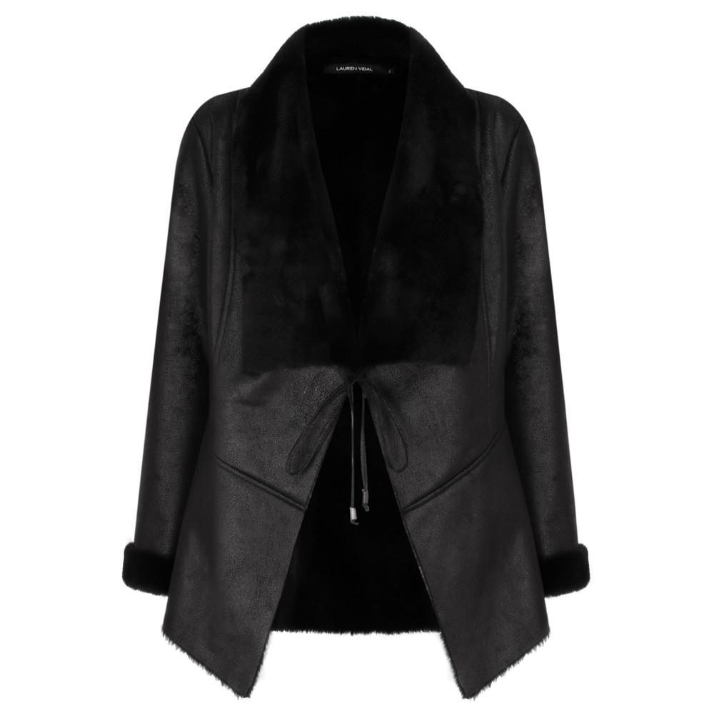 Lauren Vidal Luna Faux Leather Jacket Noir Black