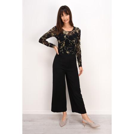 Lauren Vidal Essential Mesh Floral printedTop - Black