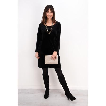 Lauren Vidal Amber Drape Velvet Dress - Black