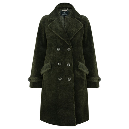 RINO AND PELLE Faux Fur Double Breasted Coat - Green