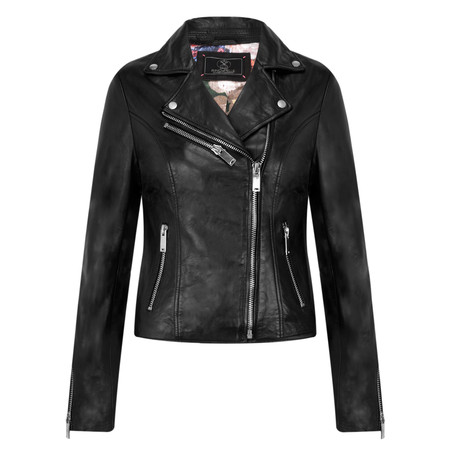 RINO AND PELLE Biker Style Leather Jacket - Black