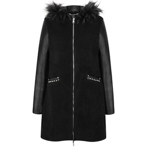 RINO AND PELLE Faux Fur Leather Hooded Coat
