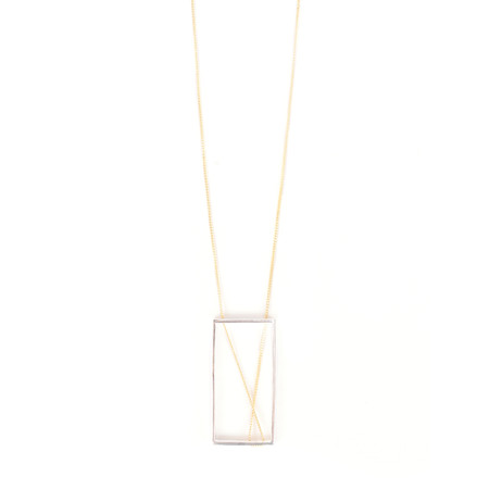 Tutti&Co Abstract Rectangle Necklace - Metallic