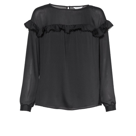 Great Plains Textured Frill Top - Black