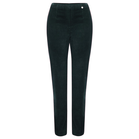 Robell Trousers Marie Stretch Velvet Slim Full Length Trouser - Green