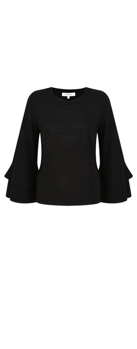 Sandwich Clothing Flared Ruffle Sleeve Knit Black