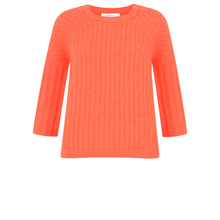 Sandwich Clothing Fluted Sleeve Rib Knit Jumper - Red