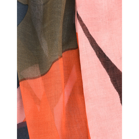 Sandwich Clothing Bold Leaf Print Woven Scarf - Pink