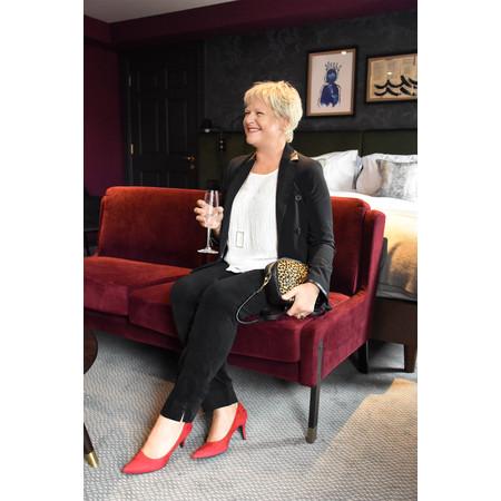 Robell Trousers Marie Stretch Velvet Slim Full Length Trouser - Black