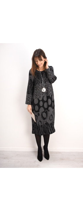 Sahara Abstract Jacquard Dress Charcoal/Black