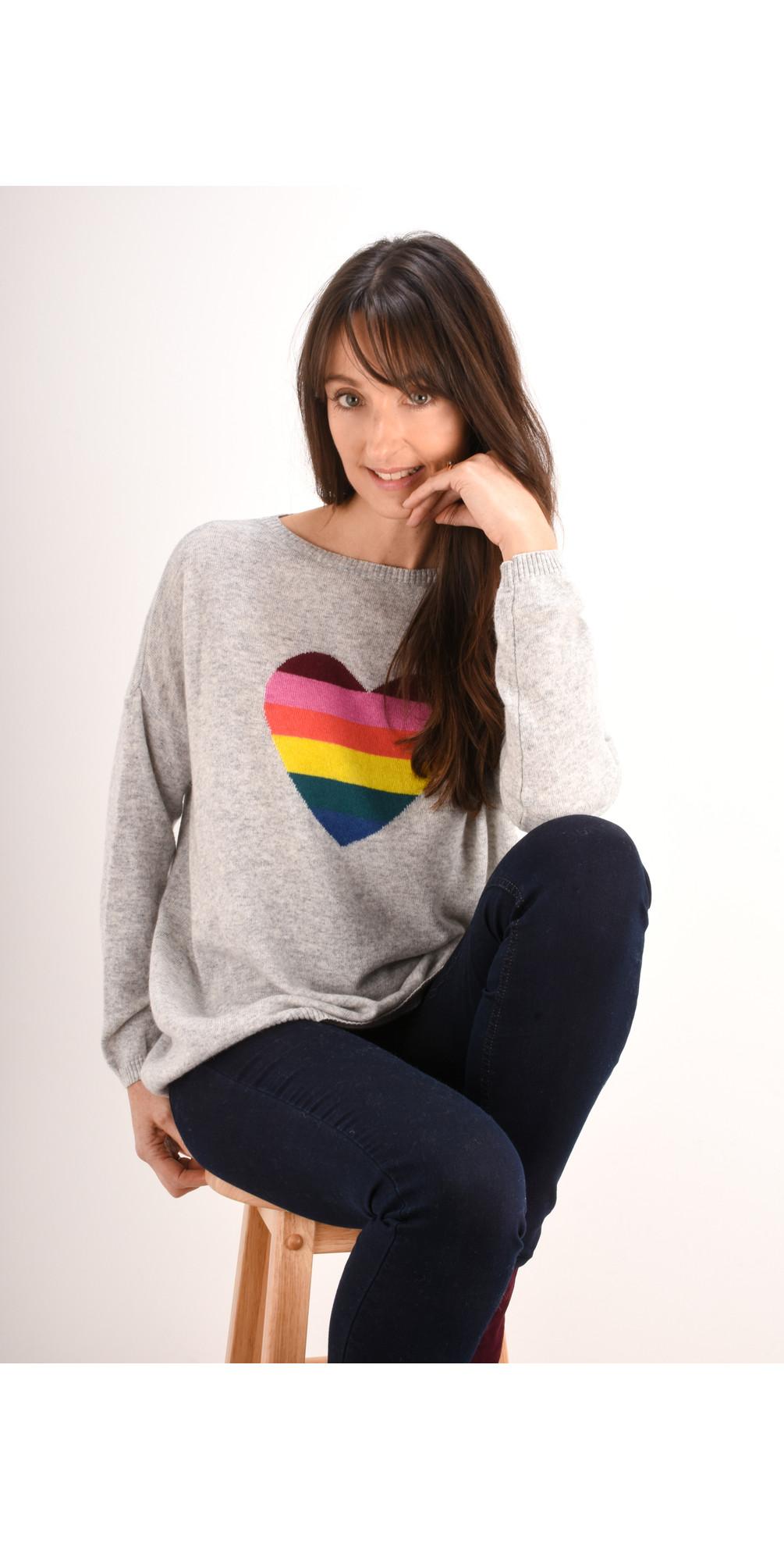 Rainbow Heart Cashmere Blend Jumper main image