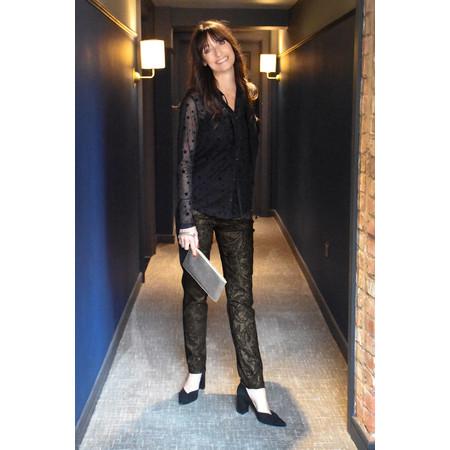 Robell Trousers Bella Full Length Paisley Jacquard Trouser - Black