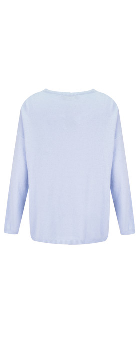Luella Classic Star Cashmere Blend Jumper Pale Blue /  Off White