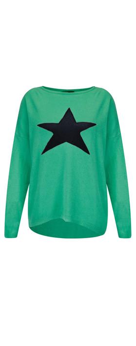 Luella Cashmere Blend Star Jumper Emerald / Navy