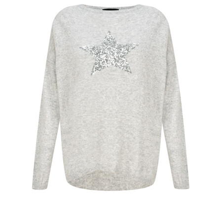 Luella Sequin Star Cashmere Blend Jumper - Grey