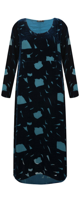 Grizas Isolda Devore Dress Dark Cyan