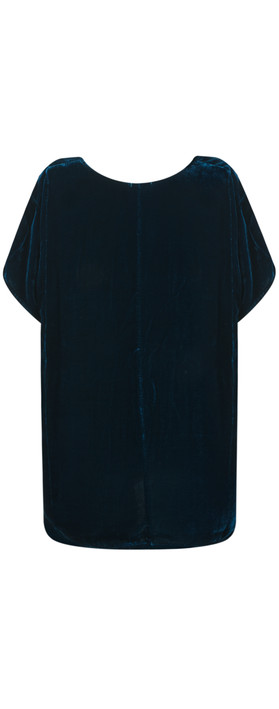 Grizas Caren Drape Velvet Top  Dark Cyan