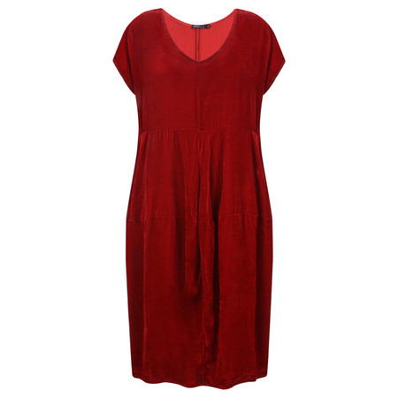 Grizas Hedli Drape Velvet Dress - Red