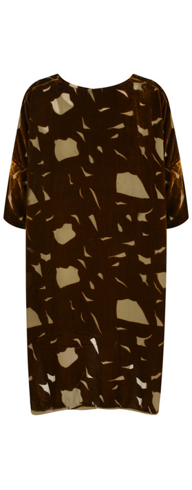 Grizas Julki Devore Velvet Tunic Golden Khaki