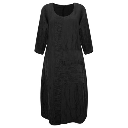 Grizas Vida Silk Linen Panelled Dress - Black