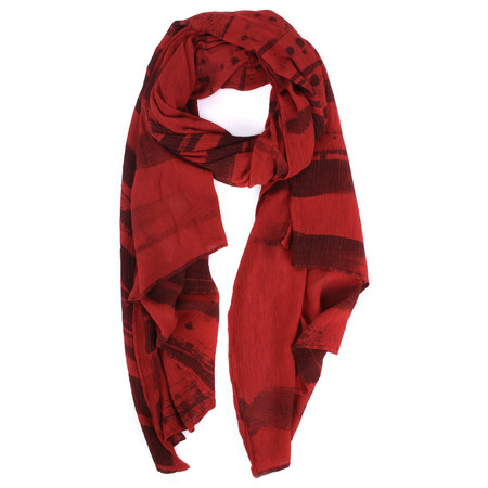 Grizas Anelli Brush Stroke Crinkle Scarf - Red