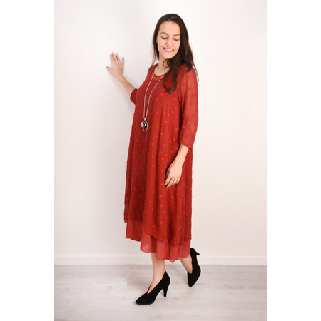 Grizas Davina Solid Spot Devore Dress - Red