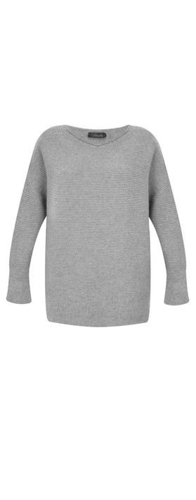 Fenella  Frenchie Easyfit Rib Knit Jumper Grey