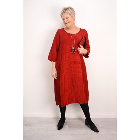 Grizas Vida Silk Linen Panelled Dress - Red