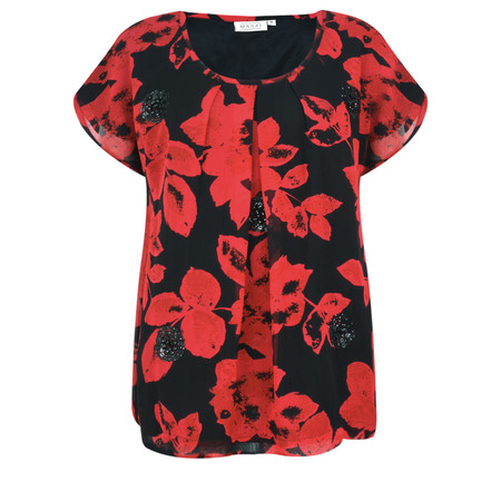 Masai Clothing Enya Floral Print Sequin Top - Red