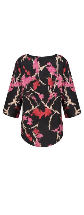 Masai Clothing Brina Floral Top Pink Org