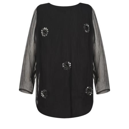 Masai Clothing Betty Sequin Spot Top - Black