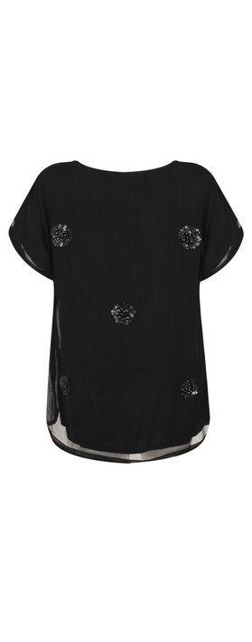 Masai Clothing Enya Sequin Circle Print Top Black