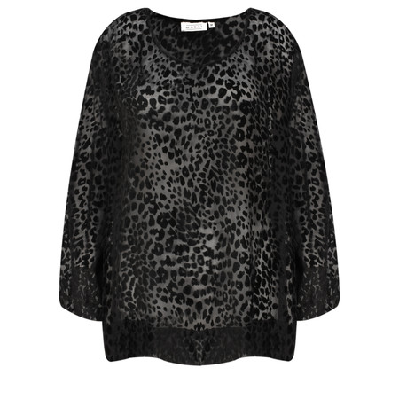 Masai Clothing Beate Velvet Leopard Print Top - Black