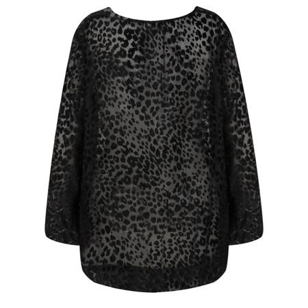Masai Clothing Beate Velvet Leopard Print Top - Black