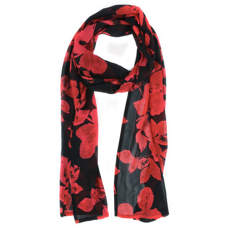 Masai Clothing Along Sheer Floral Scarf - Red